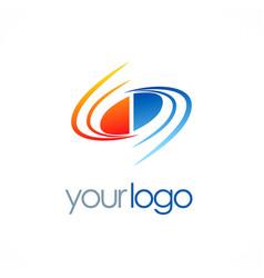 circle swirl loop color logo vector image