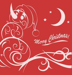 funny snowman christmas card vector image vector image