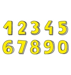 Hand drawn yellow numbers isolated on white vector image