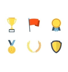 Trophy and awards flat icons vector image