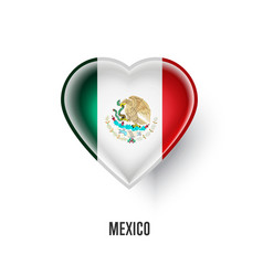 patriotic heart symbol with mexico flag vector image vector image