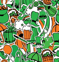 seamless pattern with holiday symbols Patrick vector image vector image