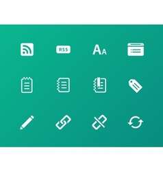 Blogger icons on green background vector