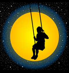 child having fun on a swing in the night vector image vector image