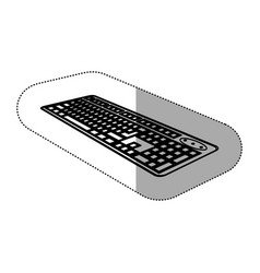 contour computer keyboard icon vector image