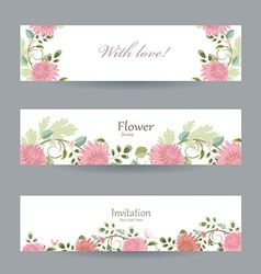 floral invitation cards for your design with love vector image