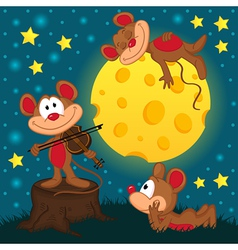 mouse with violin on a stump under the moon vector image vector image