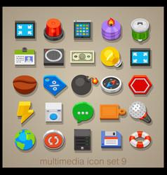 multimedia icon set-9 vector image