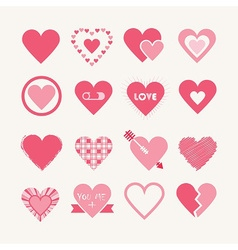 Pink Valentines day hearts icon set vector image vector image
