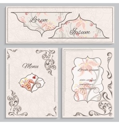Set floral vintage ornament menu cards and vector image vector image