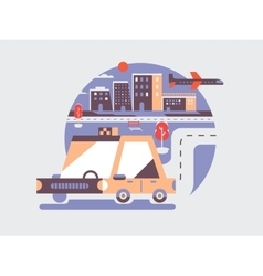 Taxi car icon flat vector image vector image