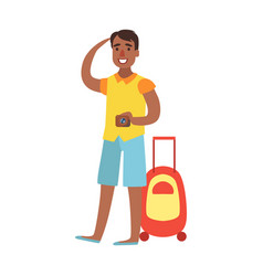 young man standing with suitcase and holding vector image