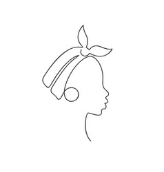 African girl in profile in headband and big vector