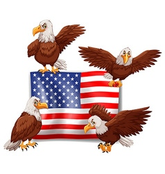 American flag and four eagles vector