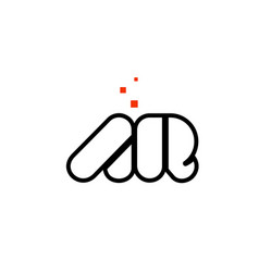ar a r black white red alphabet letter vector image