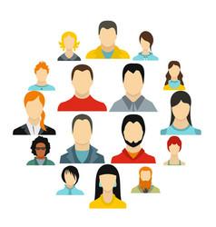avatars icons set flat style vector image