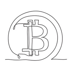 bitcoin continuous line icon cryptocurrency vector image