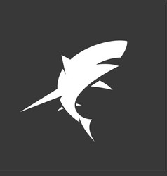 black and white shark logo with minimalism vector image