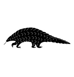 Black pangolin silhouette vector