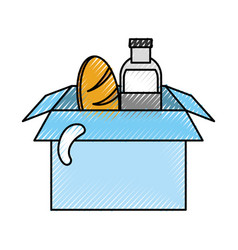 Box with milk bottle and bread vector