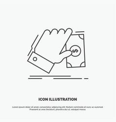 business hand money earn dollar icon line gray vector image