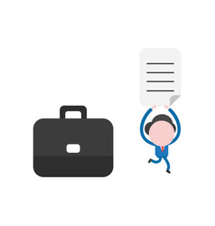 businessman with suitcase running and holding up vector image