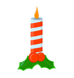 Candle xmas isolated icon cartoon style for vector