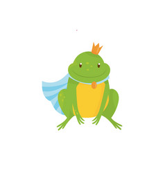 Cartoon frog prince with golden crown and blue vector
