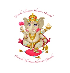 Cartoon representation of eastern god Ganesha with vector image