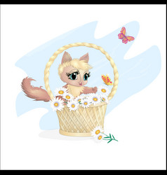 Cat in a basket vector
