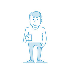 Character happy man drinks tea manager or office vector