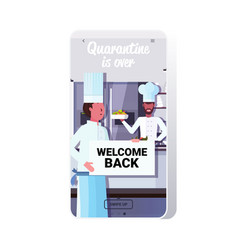 Chef cooks holding welcome back sign board vector