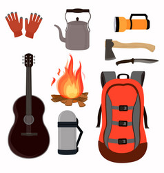 collection of assembled sets for camping backpack vector image