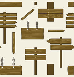 Collection wooden signs pattern vector