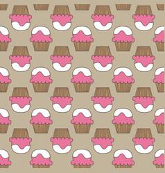 Cupcake pattern beige pink art background vector