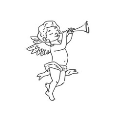 Cupid boy playing on trumpet isolated vector
