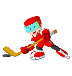 cute and playful cartoon boy hockey player vector image
