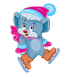 cute blue mouse character in hat and scarf is vector image