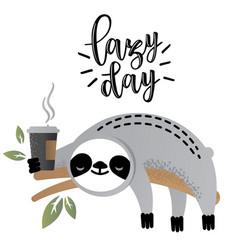 cute sloth bear animal with coffee vector image