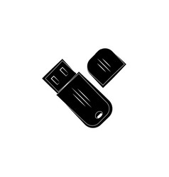 flash drive icon black on white background vector image
