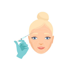 Girl having hyaluronic acid facial injection vector
