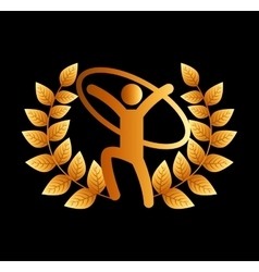 Gold emblem sport icon vector