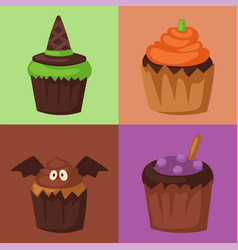 Halloween cupcake cookie food night cake party vector
