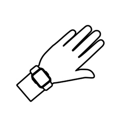 hand and smart watch wearable technology outline vector image