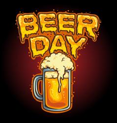 happy beer day glass mascot vector image