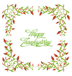 Happy thanksgiving floral frames vector