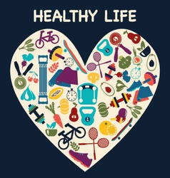 Healthy life set fitness sport vector