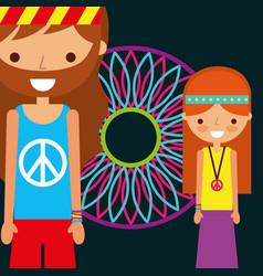 Hippie man and woman dream catcher free spirit vector