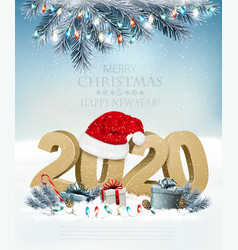 Holiday christmas background with santa hat vector