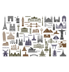 icons world tourist attractions and architectural vector image